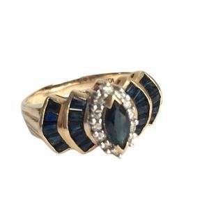 Vintage Sapphire & Diamond 10K Gold Ring Marquise